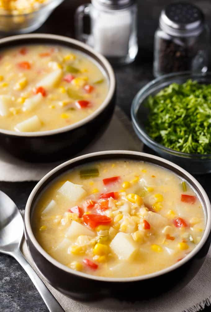 Corn Chowder - Packed full of deliciousness! This creamy chowder recipe hits the spot and is a great family meal for a busy weeknight.