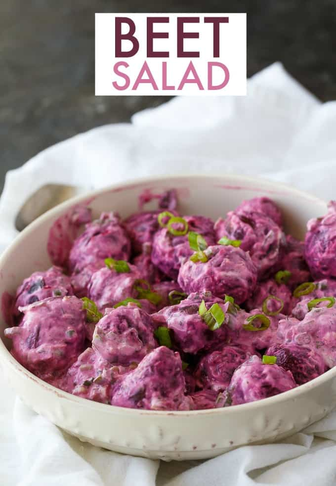 Beet Salad - Creamy with a kick! This easy side dish recipe pairs well with steak.