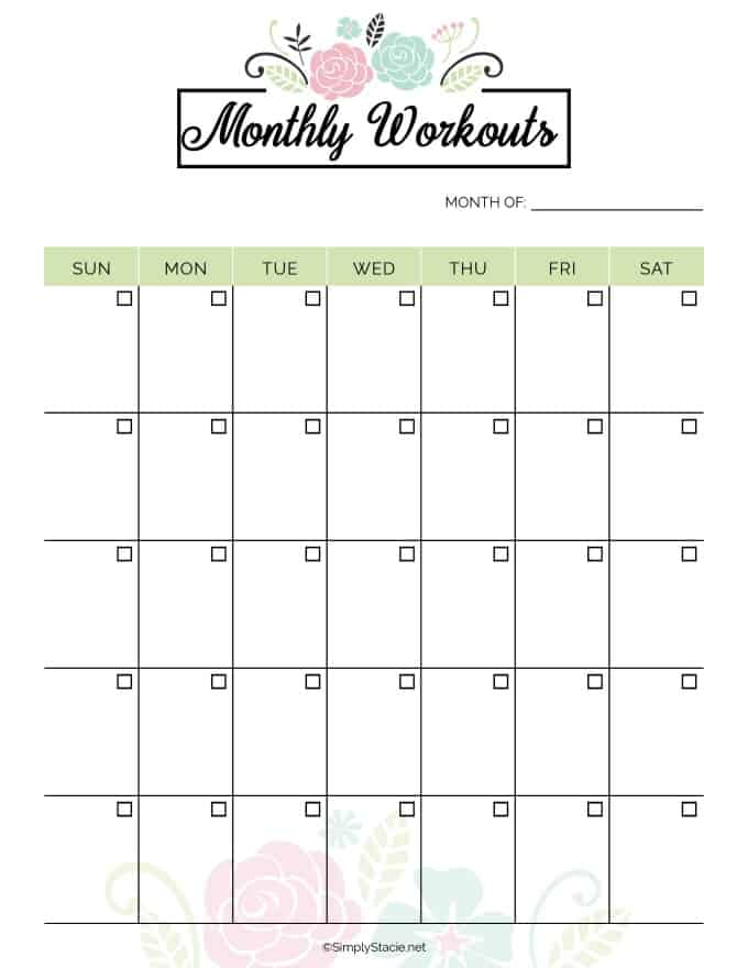 picture regarding Printable Workout Calendar named 2019 Physical fitness Planner Totally free Printable - Just Stacie