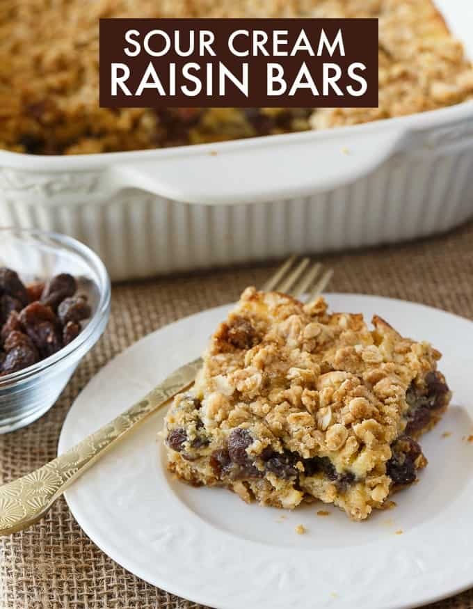 Sour Cream Raisin Bars - This easy dessert recipe is a cross between a date square and a butter tart. It has a creamy raisin filling that everyone loves!