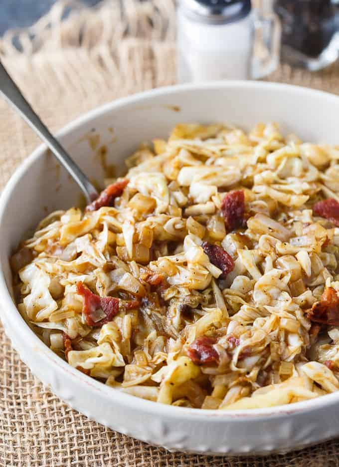 Sweet and Sour Cabbage - Everything is better with bacon! This simple cabbage side dish recipe goes great with any meal and is the perfect blend of sweet and sour.