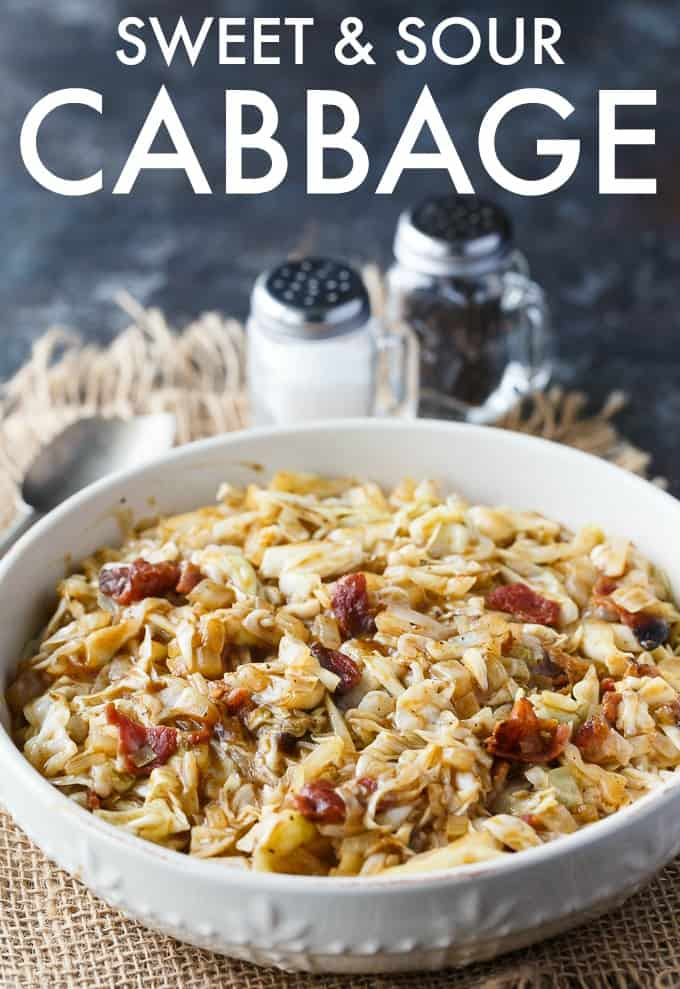 Sweet and Sour Cabbage - This easy side dish is the perfect blend of sweet and sour. It's comforting and goes great chicken, beef or pork.