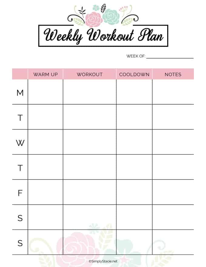 photograph regarding Fitness Planner Printable named 2019 Physical fitness Planner No cost Printable - Basically Stacie