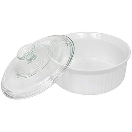 CorningWare French White 1-1/2-Quart Covered Round Dish with Glass Top