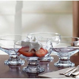 Home Essentials 4 Piece Set Essentials Home Footed Glass Dessert Dishes Bowls, , Clear