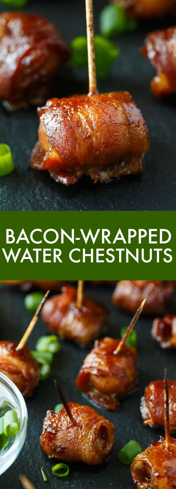 Bacon-Wrapped Water Chestnuts - Everyone goes NUTS over this easy appetizer. Whole water chestnuts are wrapped in bacon and marinated in a sweet/savory sauce.