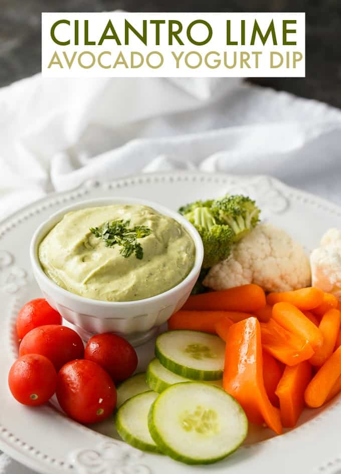 Cilantro Lime Avocado Yogurt Dip - Creamy, smooth and delicious. This easy dip recipe will be a hit with friends and family.
