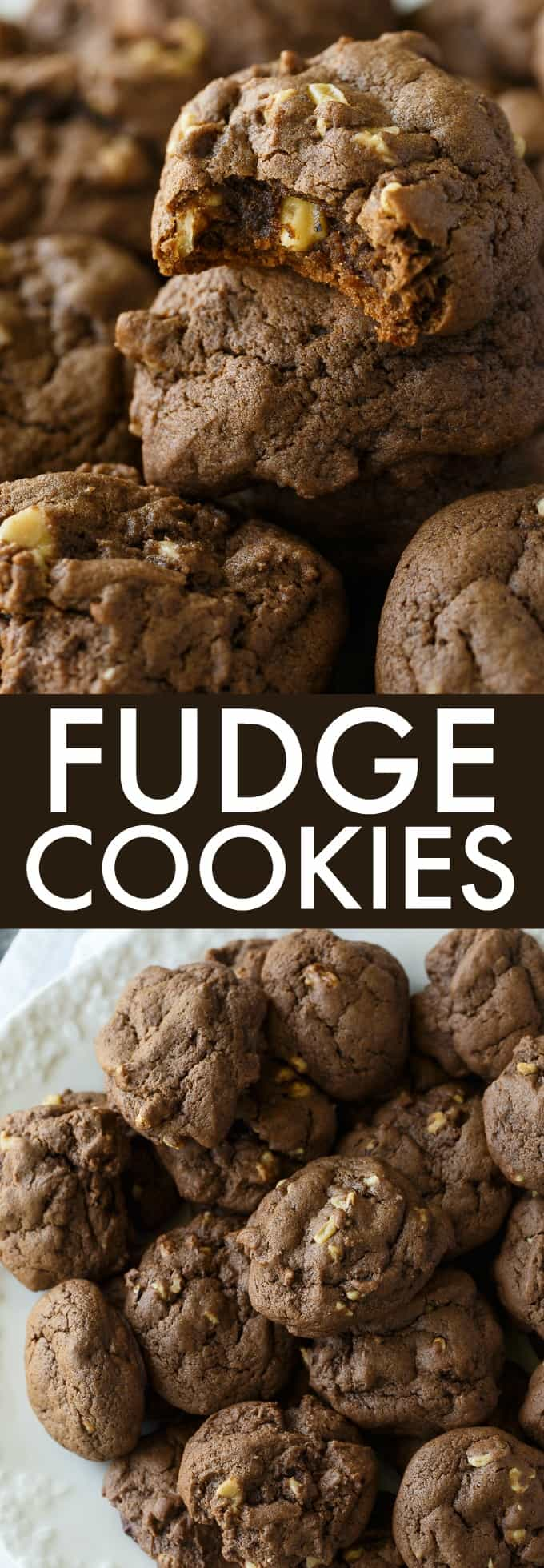 Fudge Cookies - Rich, chocolatey and chewy! This simple cookie recipe is great for cookie exchanges and holiday parties.