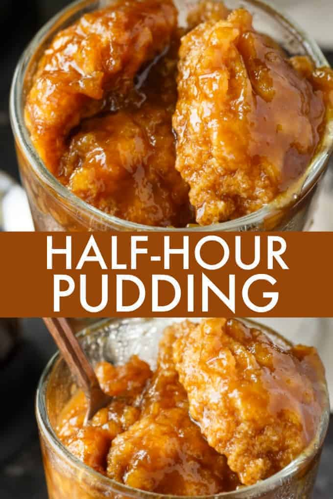 Half-Hour Pudding - An easy vintage dessert recipe just like Grandma used to make. The sweet bread pudding bakes in a rich caramel sauce for 30 minutes.