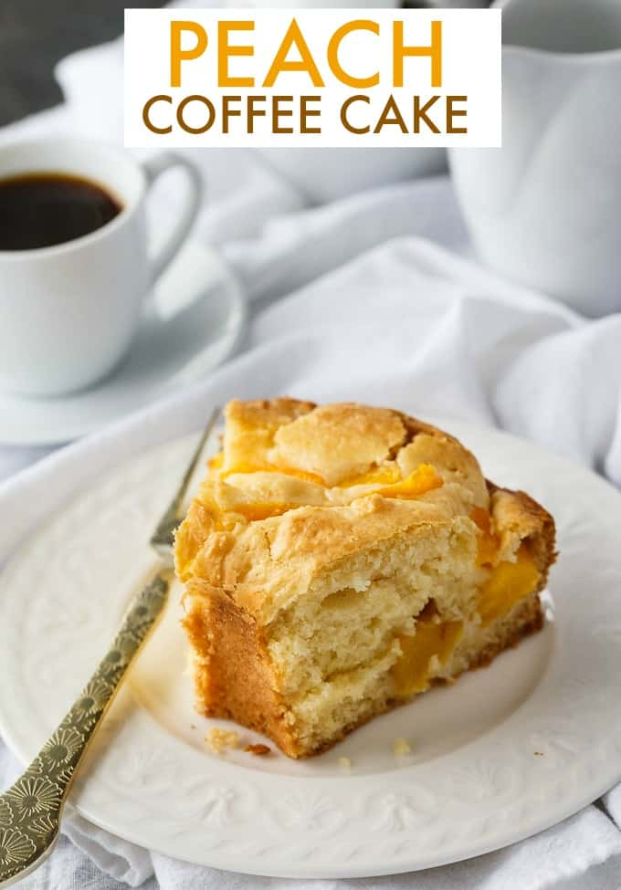 Peach Coffee Cake - Moist, a little sweet with perfect peach flavor. This easy coffee cake recipe is a lovely afternoon snack.