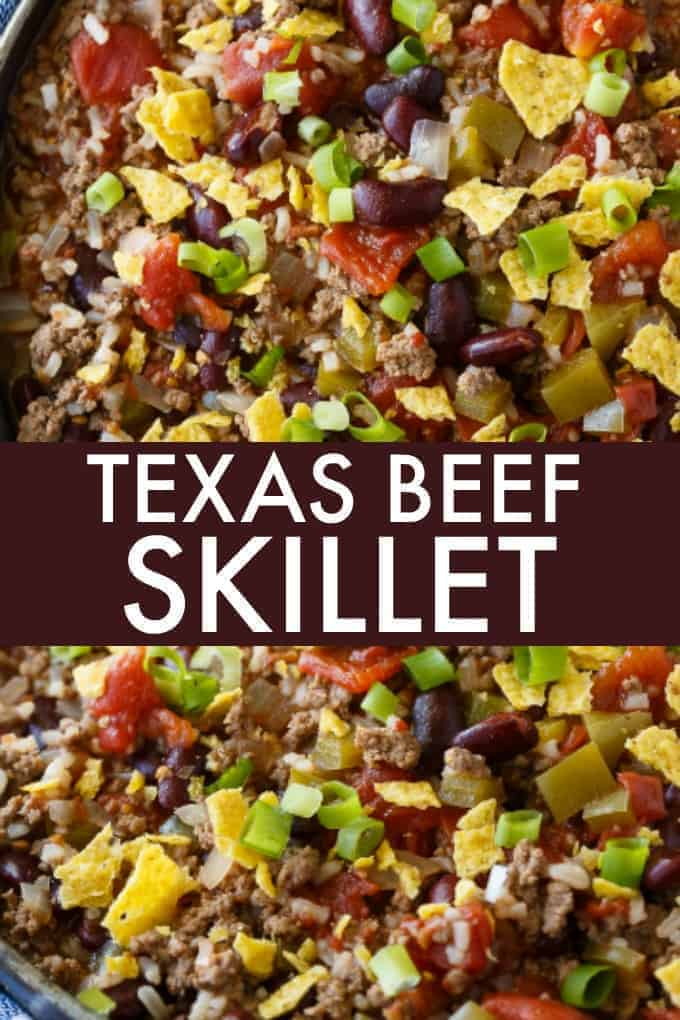 Texas Beef Skillet - An easy meal made in one pan! It's hearty and filling with the flavors of chili and rice.