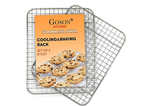 Goson Bakeware Baking, Cooling , Oven Roasting, Broiler Rack, 8in by 10in, Cross Wire, Chrome, Pack of 2, Compatible with Various Baking Sheets Oven Pans