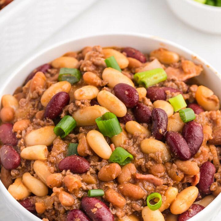 bean casserole in a white bowl
