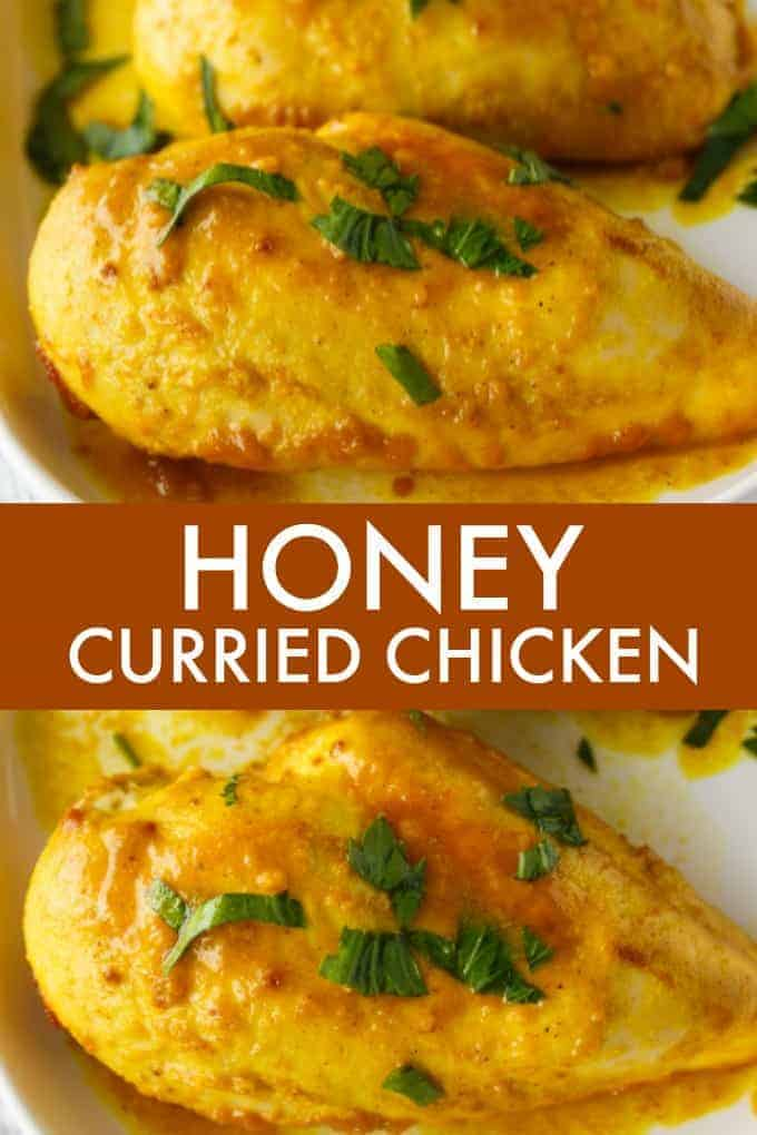 Honey Curried Chicken - An easy recipe that uses only a few simple ingredients. Perfect for weeknights when you need to get dinner on the table quickly!