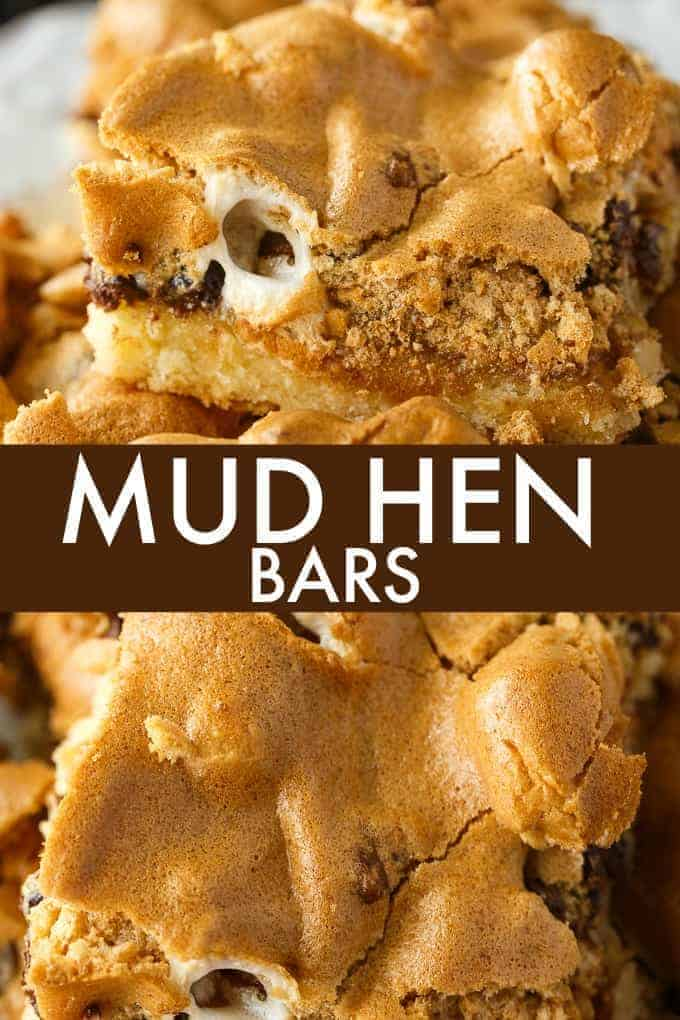 Mud Hen Bars - A vintage dessert from Grandma's cookbook! It has a cookie bar base, topped with a rich layer of walnuts, chocolate and melted marshmallows followed by a sweet brown sugar meringue topping.