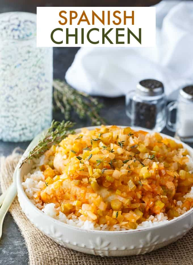 Spanish Chicken - An easy chicken recipe with the best homemade sauce! Serve it on a bed of rice or plain for an easy weeknight dinner!