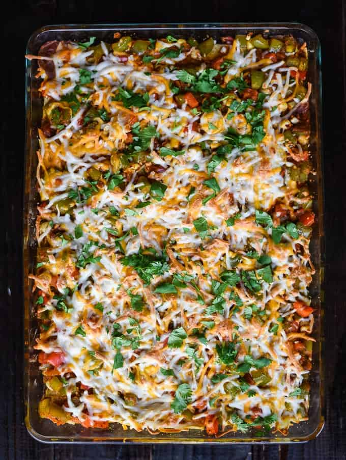 Vegan Mexican Casserole - This recipe is healthy, flavorful, and hearty enough to serve as a warm, fall dish.