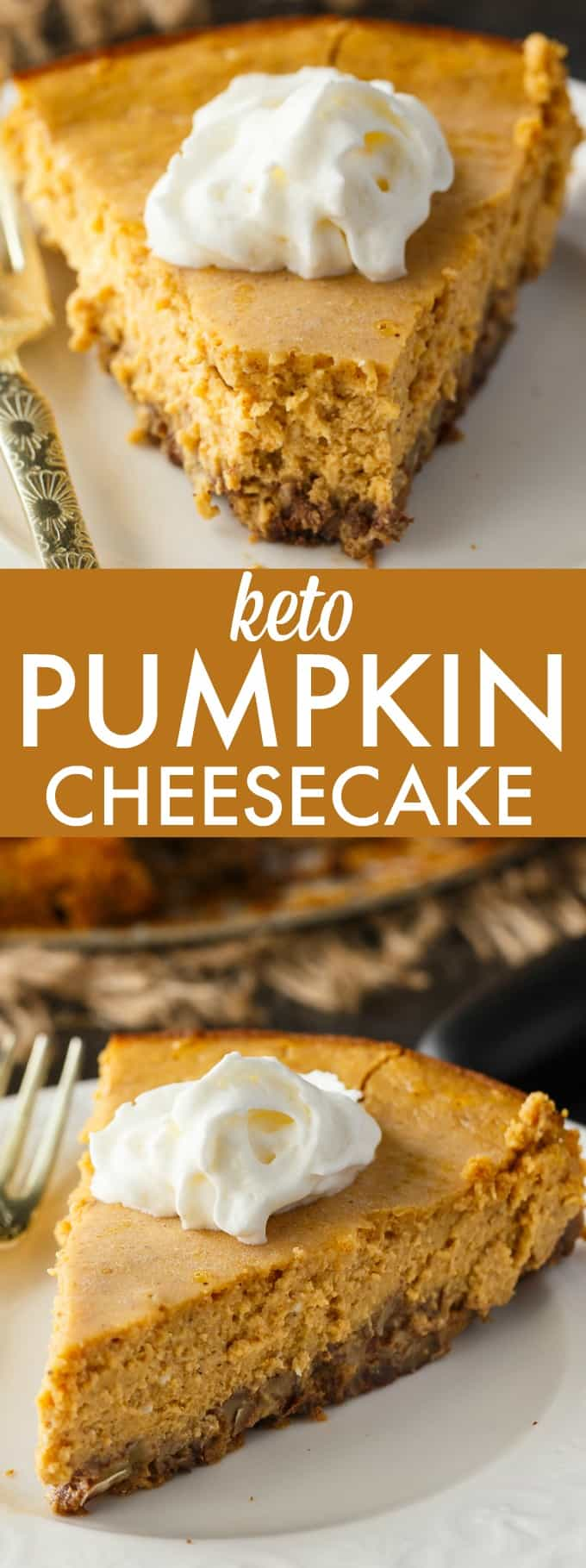 Keto Pumpkin Cheesecake - Rich and creamy! Enjoy this easy keto dessert guilt-free. Each bite is pure pumpkin heaven.