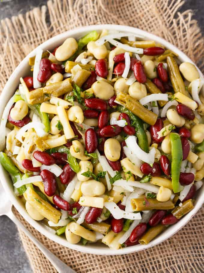 Bean Salad - Packed full of yummy fibre. This easy salad recipe is loaded with beans and a flavorful dressing.