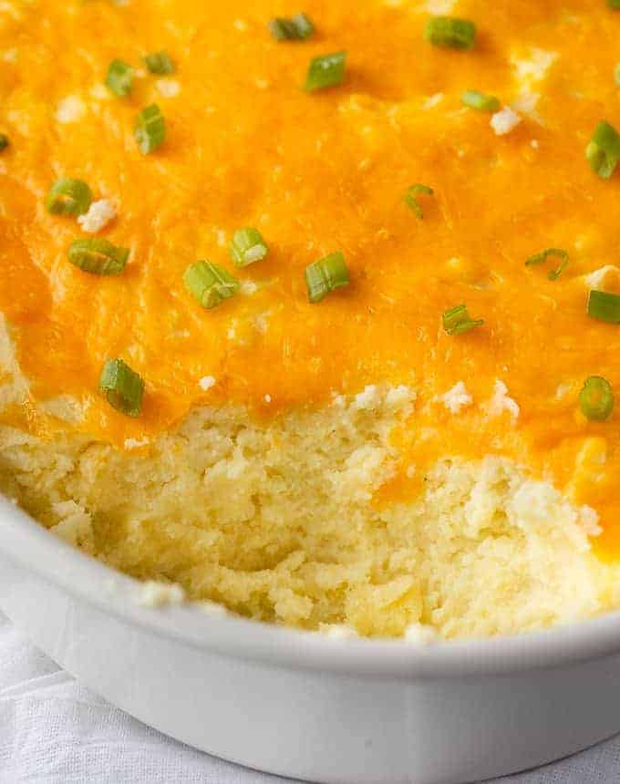 Mashed Potato Casserole - Creamy and fluffy! This comfort food casserole is delicious for Thanksgiving or other special meals.