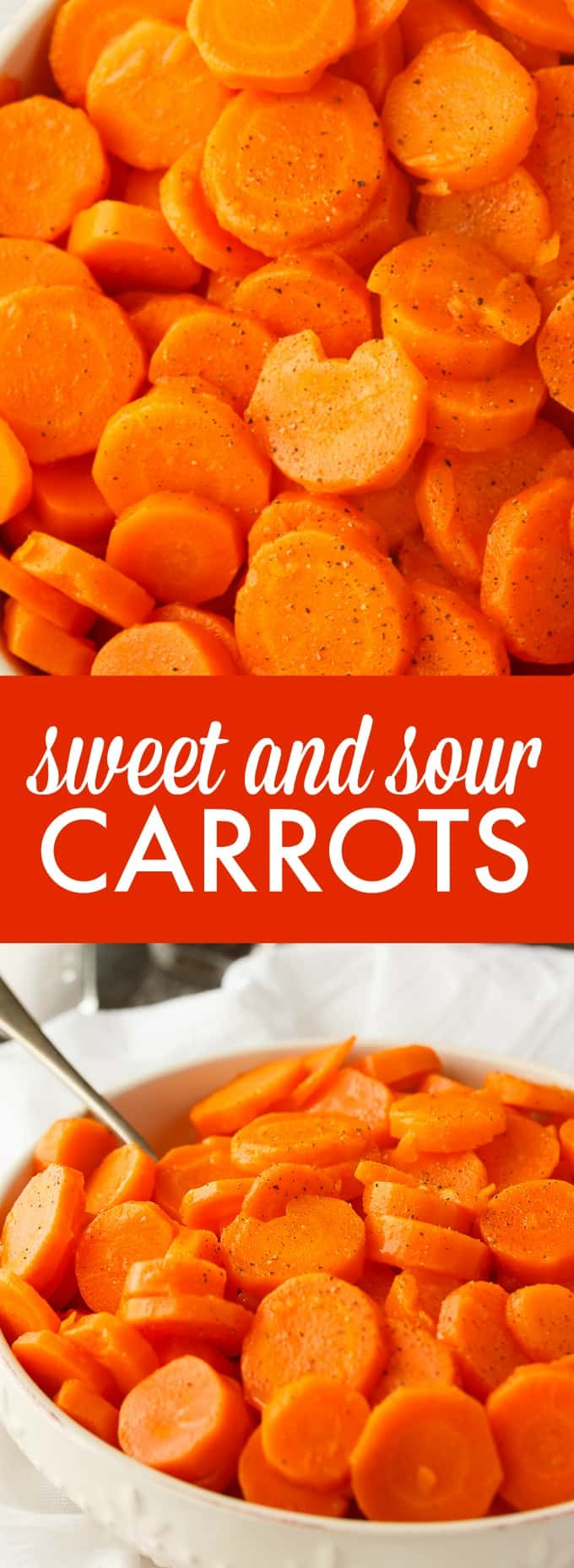 Sweet and Sour Carrots - A mouthwatering side dish for chicken or beef. Each bite is the perfect blend of sweet and sour flavors. Serve them for Thanksgiving or Christmas dinner.