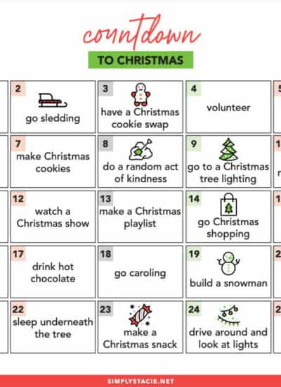 Countdown to Christmas Free Printable - Get into the holiday spirit with this list of daily activities to do in December leading up to Christmas.