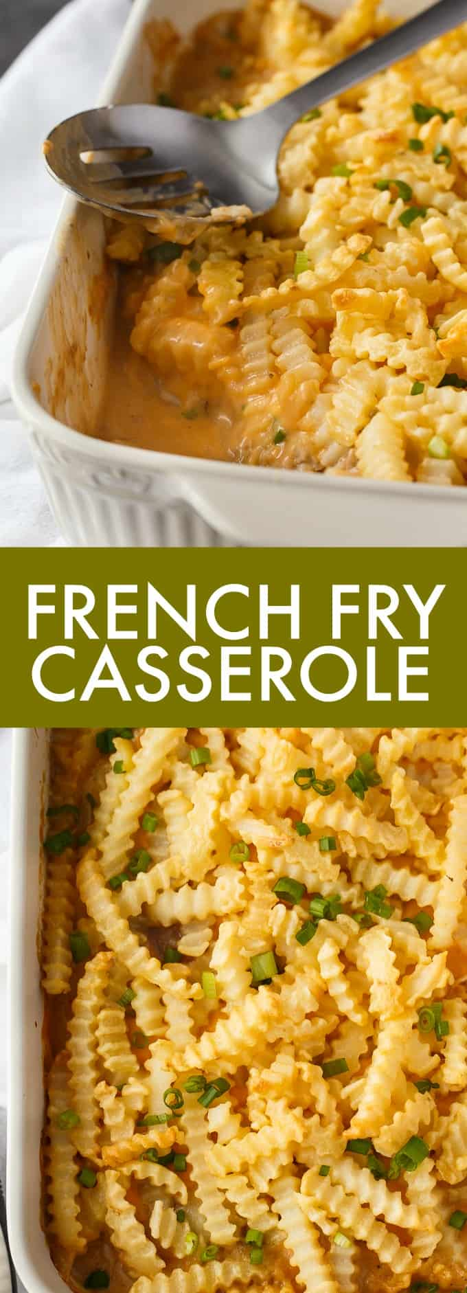 French Fry Casserole - This is the ultimate kid-friendly meal! Ground beef, creamy mushroom cheddar sauce and French Fries are a surefire way to get your kids to the table.