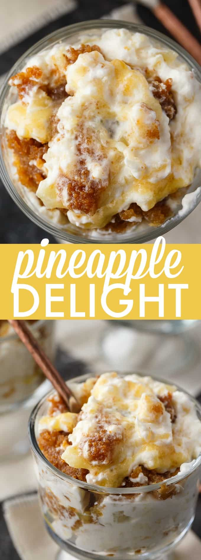 Pineapple Delight - Filled with the sweet flavors of toffee and pineapple in a creamy topping. This dessert may not be the prettiest, but it sure tastes delicious.