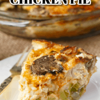 Impossible Chicken Pie - A delicious vintage meal for your family! This easy chicken pie bakes it own crust and is filled with tender chicken and veggies.