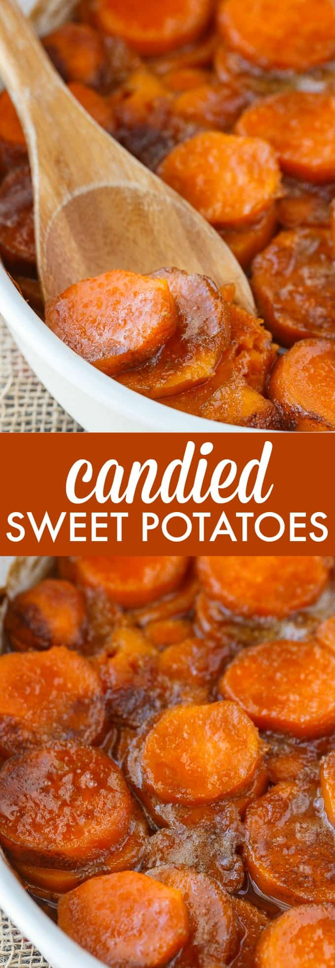 Candied Sweet Potatoes - An easy side dish recipe that tastes like a dessert. Tender sweet potato rounds are covered in a rich, buttery glaze.