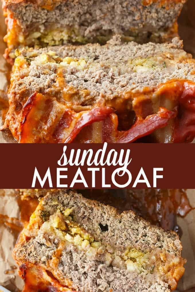 Sunday Meatloaf - A delicious family recipe! This easy meatloaf has a flavorful stuffing filling and is topped with a mouthwatering tomato sauce and bacon.