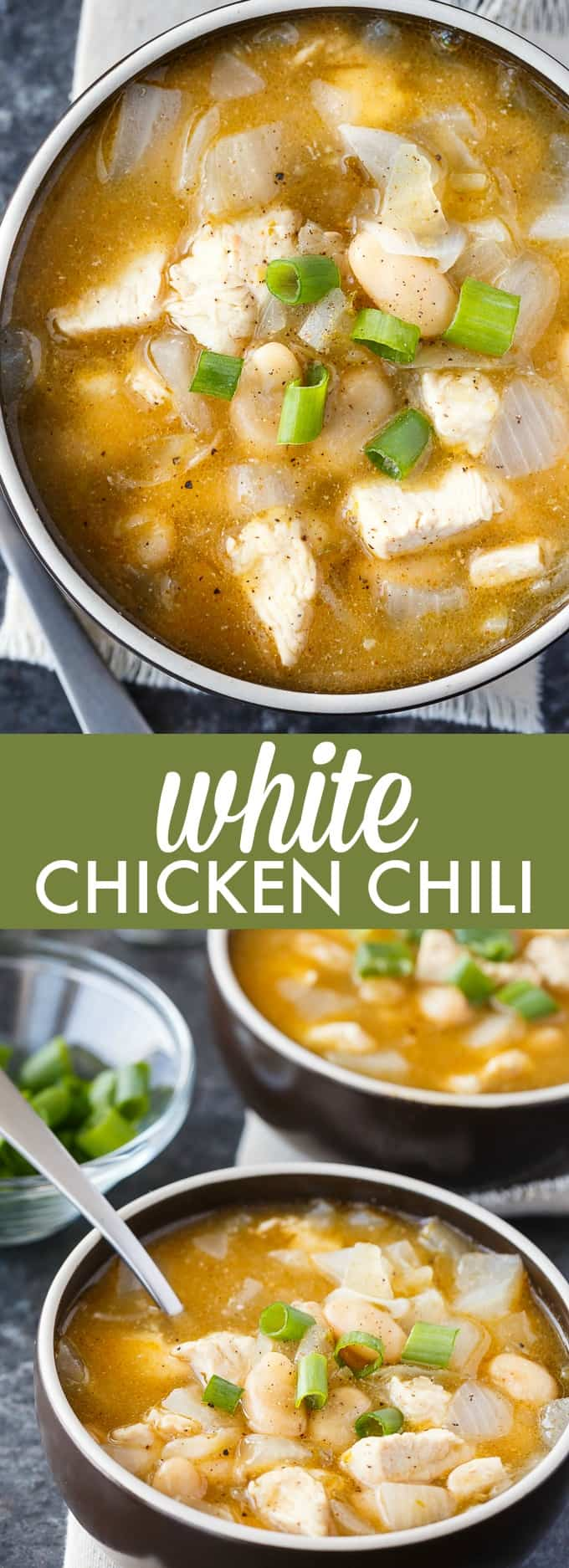 White Chicken Chili - Healthy and delicious! This simple white chili recipe is filled with tender morsels of chicken, white kidney beans and spices.