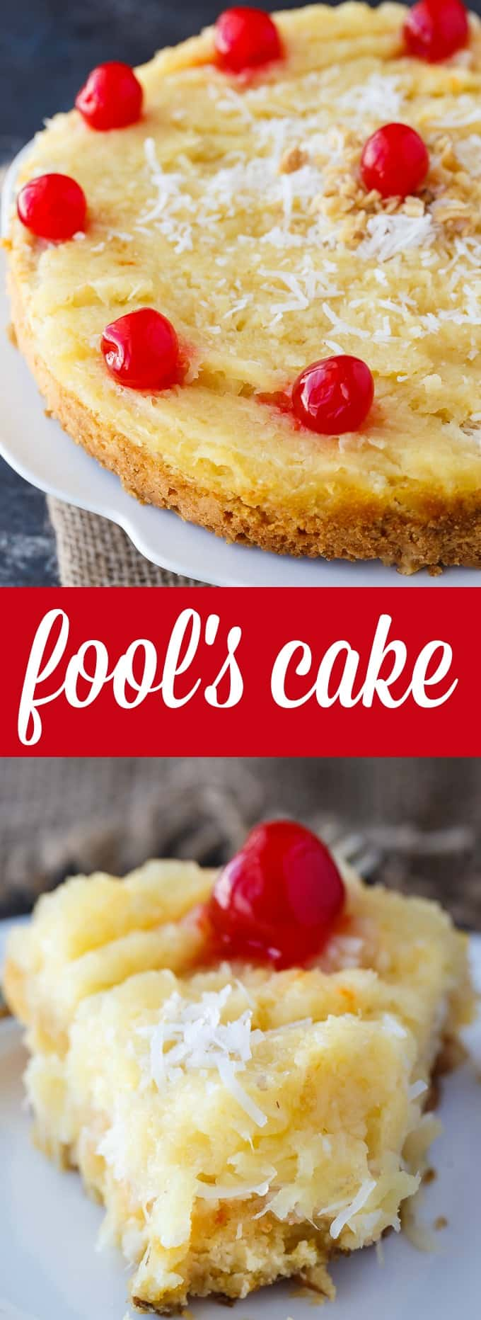 Fool's Cake - A simple, fool-proof cake everyone loves! This yummy dessert has layers of walnuts, yellow cake, coconut and pineapple. Perfect for potlucks!