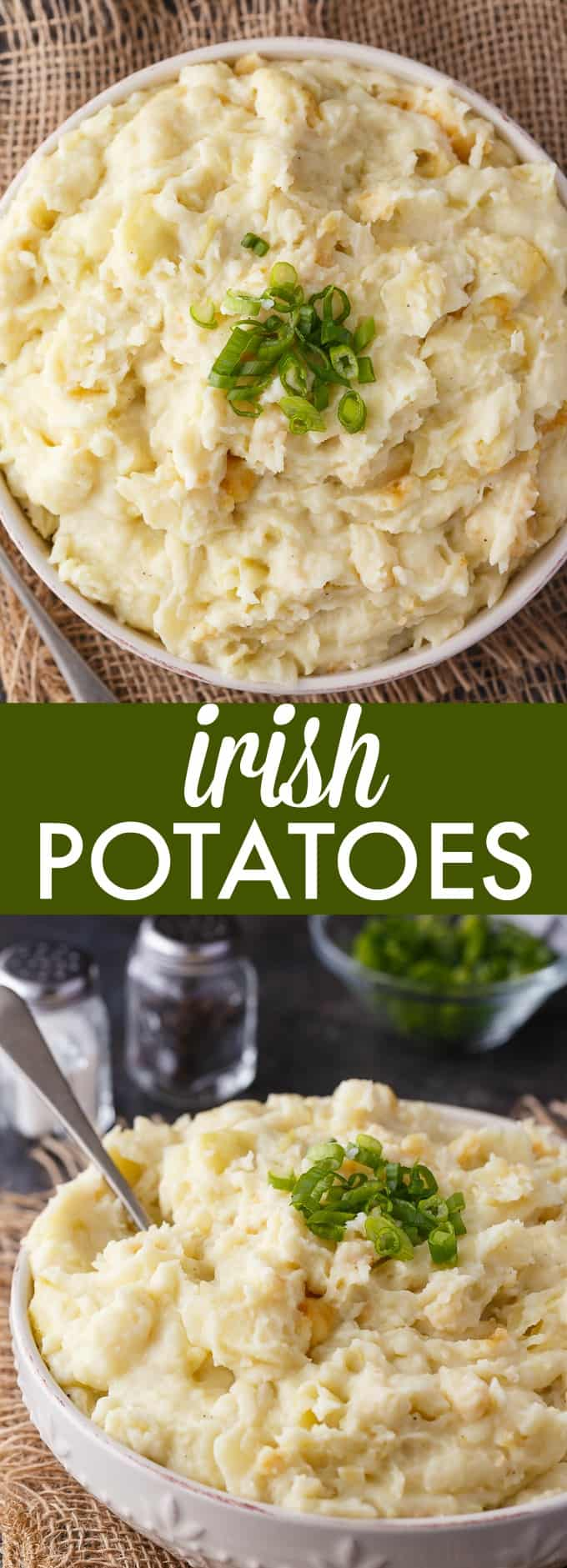 Irish Potatoes - A hearty side dish made with creamy mashed potatoes, garlic and cabbage. Serve for St. Patrick's Day or anytime of year!