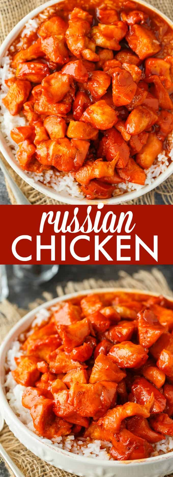 Russian Chicken - Sweet and tangy! This easy dinner recipe has a flavorful sauce made with Russian dressing, onion soup mix and apricot jam. Serve on a bed of rice for a delicious family meal.