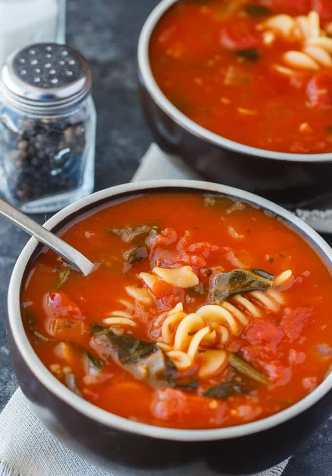 Tomato Florentine Soup - An easy soup recipe ready to eat in 20 minutes! It's full of delicious tomatoes, pasta and spinach.