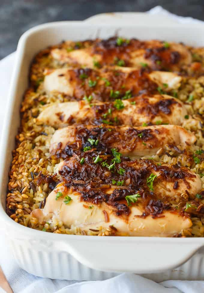 No Peek Chicken - Slow-roasted chicken is the way to go! This one-pan chicken and rice dinner is easy to throw together with no work whatsoever.