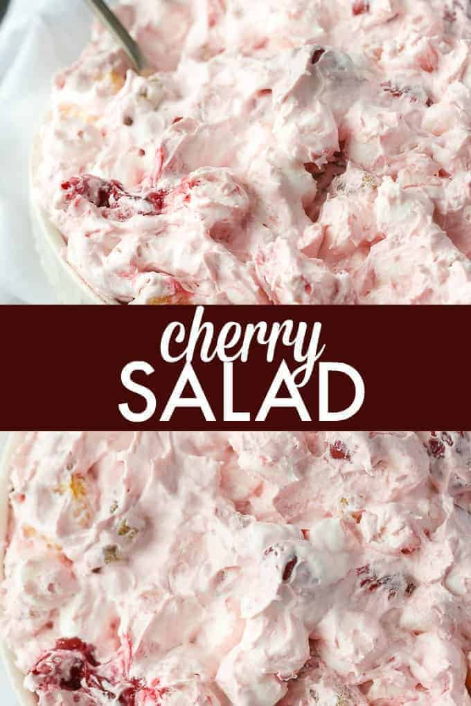 Cherry Salad - Super simple dessert with only six ingredients that you can whip up in a matter of minutes. Perfect for potlucks and parties!