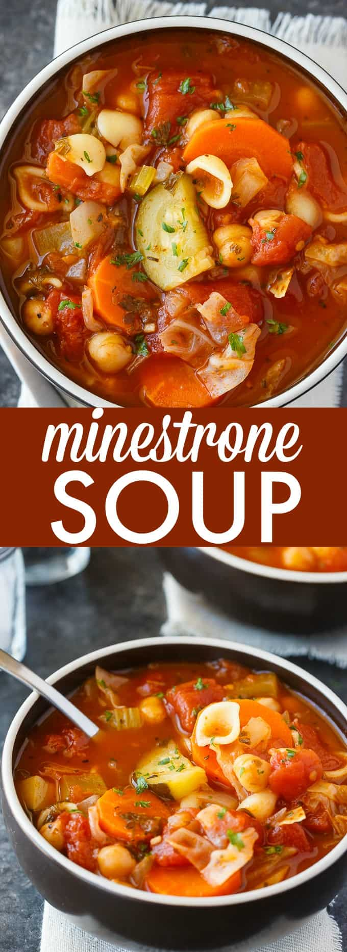 Minestrone Soup - Comfort food in a bowl. This easy family recipe is full of yummy veggies, chickpeas and baby shell pasta. So much flavor!