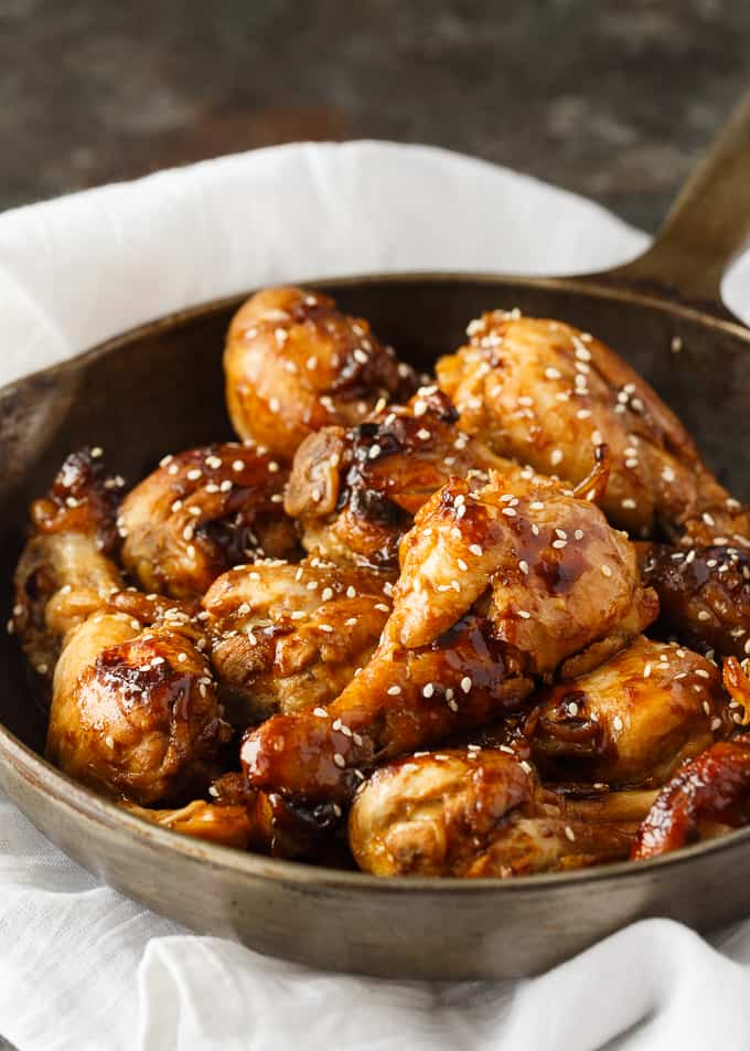 Sticky Chicken - Sticky sweet and full of flavor! This easy chicken recipe cooks in one pan and the sauce is finger lickin' good.