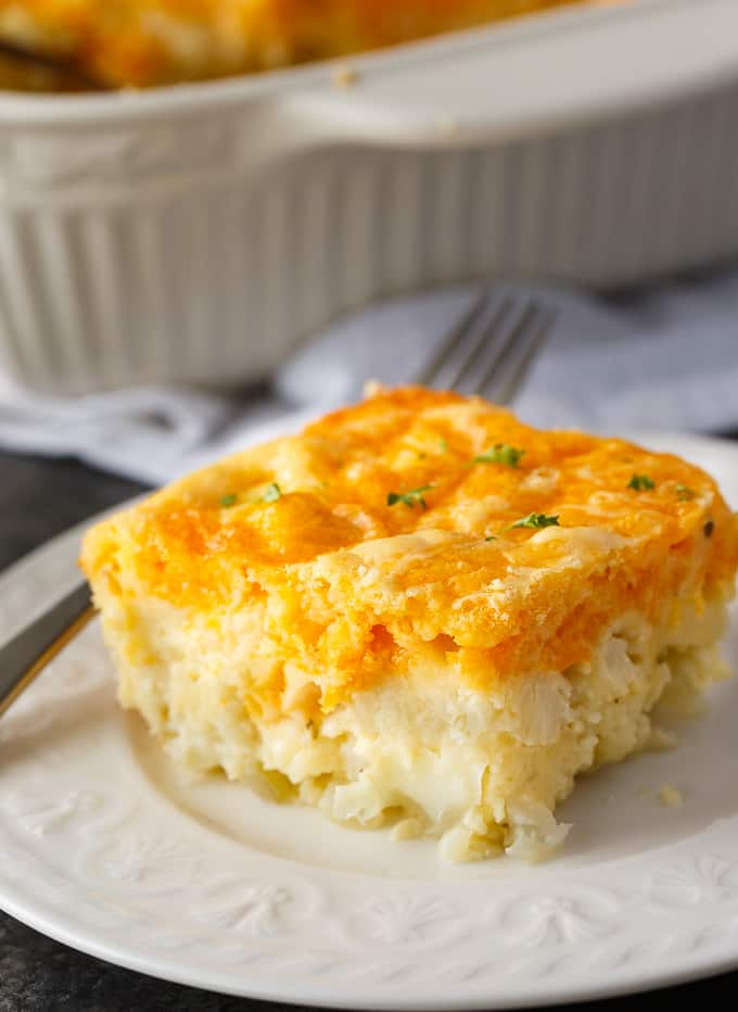 Cauliflower Bake - Cauliflower, cheese and a convenient biscuit mix make a fantastic side dish. Even those that don't love cauliflower will love this one!