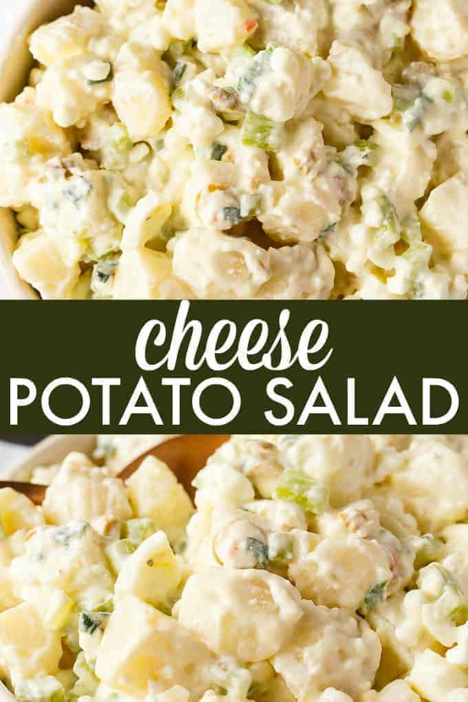 Cheese Potato Salad - A deliciously easy summer salad recipe perfect for BBQs! Tender potatoes are covered in a creamy, flavorful dressing.