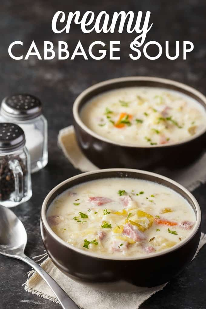 Creamy Cabbage Soup - Hearty and comforting! This delicious and easy soup recipe is loaded with tender cabbage, carrots, celery, ham and spices. Yum!