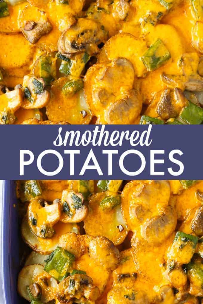 Smothered Potatoes - Thinly sliced potatoes are baked to perfection in a blanket of mushrooms, green onions, green peppers and cheddar cheese. Serve as a side dish or appetizer.