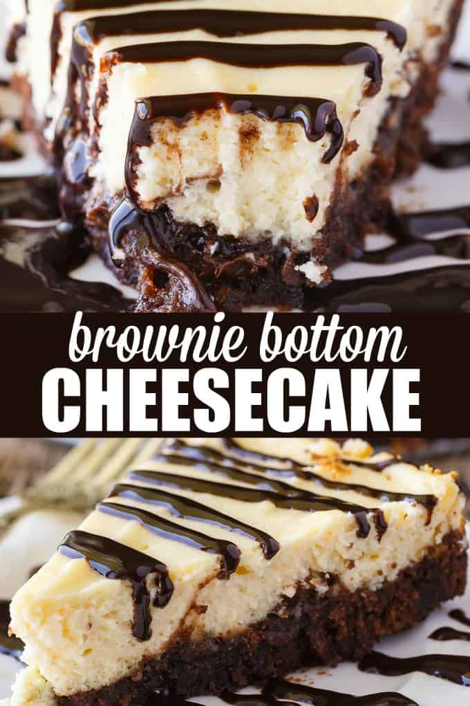 Brownie Bottom Cheesecake - So easy to make that you'll feel like you are cheating! Enjoy the rich chocolate brownie bottom layer topped with a creamy and sweet cheesecake filling. Use a brownie mix to save on time!