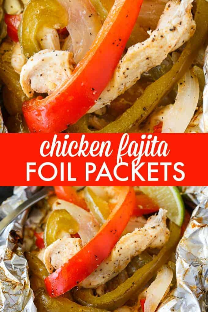 Chicken Fajita Foil Packets - Flavor packed and low carb! This easy grilling recipe is made with tender chicken, peppers and onions seasoned with the yummy tastes of fajitas.