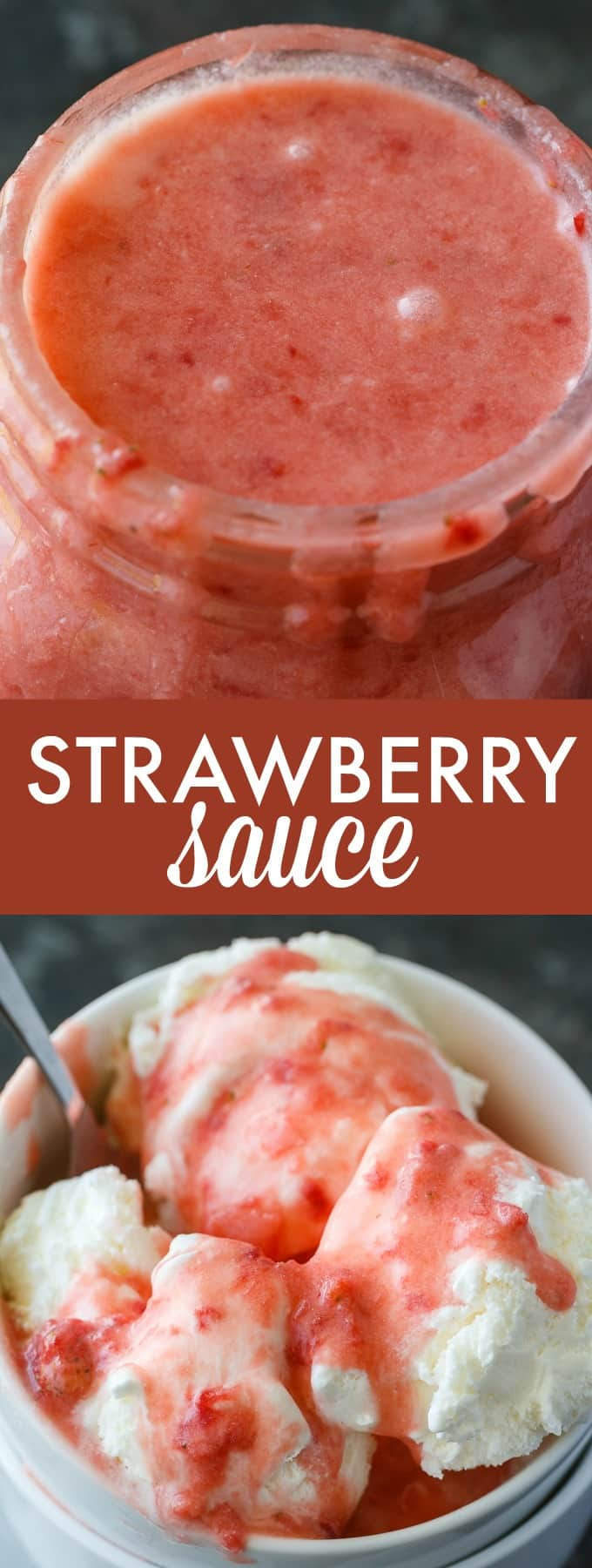 Strawberry Sauce - A sinfully scrumptious summer ice cream sauce made with fresh strawberries! Only 3 ingredients and ready in 5 minutes!