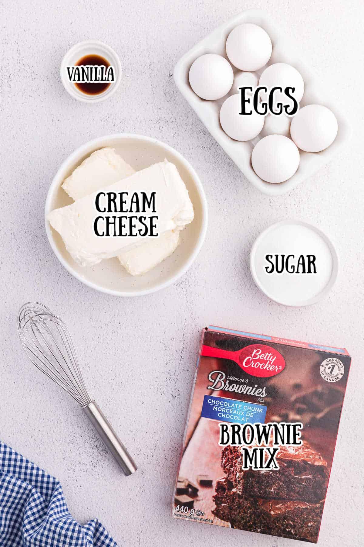 Brownie Bottom Cheesecake Ingredients