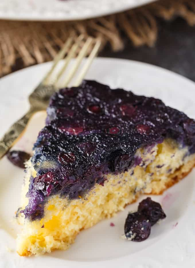 Blueberry Upside Down Cake - So simple to whip up using fresh summer blueberries! Made with cake mix to save on time.