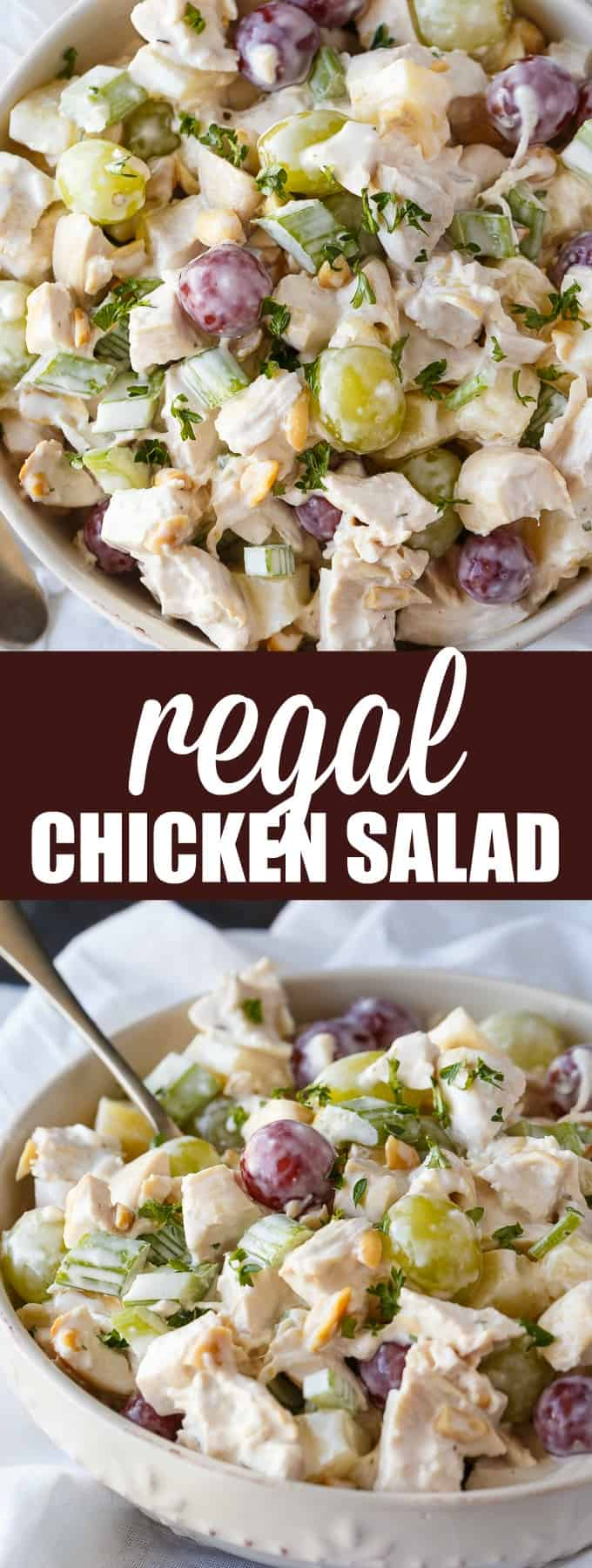 Regal Chicken Salad - My husband says this is the BEST chicken salad ever! It's loaded with tender chicken, grapes, celery, pineapple and tossed in a slightly sweet creamy dressing.